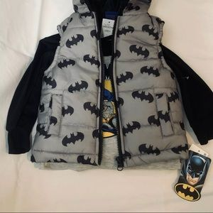Batman Hoodie Vest & Long Sleeved Tee 18 Months